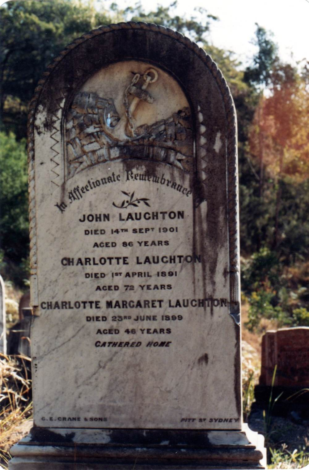 John Laughton's grave, Laughtondale Cemetery, Wiseman's Ferry, NSW